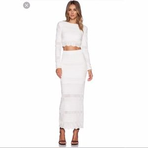 Torn by Ronny Kobo White Scallop Set Crop Top